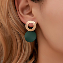 Hello Miss Fashion personality simple ring alloy earrings geometric stereo stud new womens jewelry