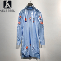 AELESEEN Runway Fashion Embroidery Blouse 2020 High Quality Spring Summer Casual Loose Blue Women Shirt Flower Long Blouse