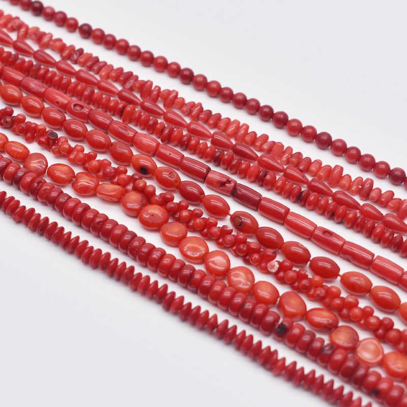 """טבעי אבן חרוז סדיר צורה עגולה אדום קורל חרוזים תכשיטי Spacer חרוזים סטרנד 15 """"עבור DIY צמיד שרשרת תכשיטים ביצוע"""