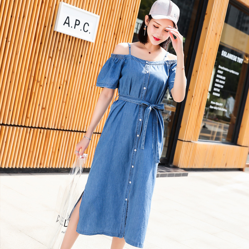 2019 New Style Off-Shoulder Strapped Dress Korean-style Off-Shoulder Slimming Hipster Mid-length Computer Cable Lock Women's Sum