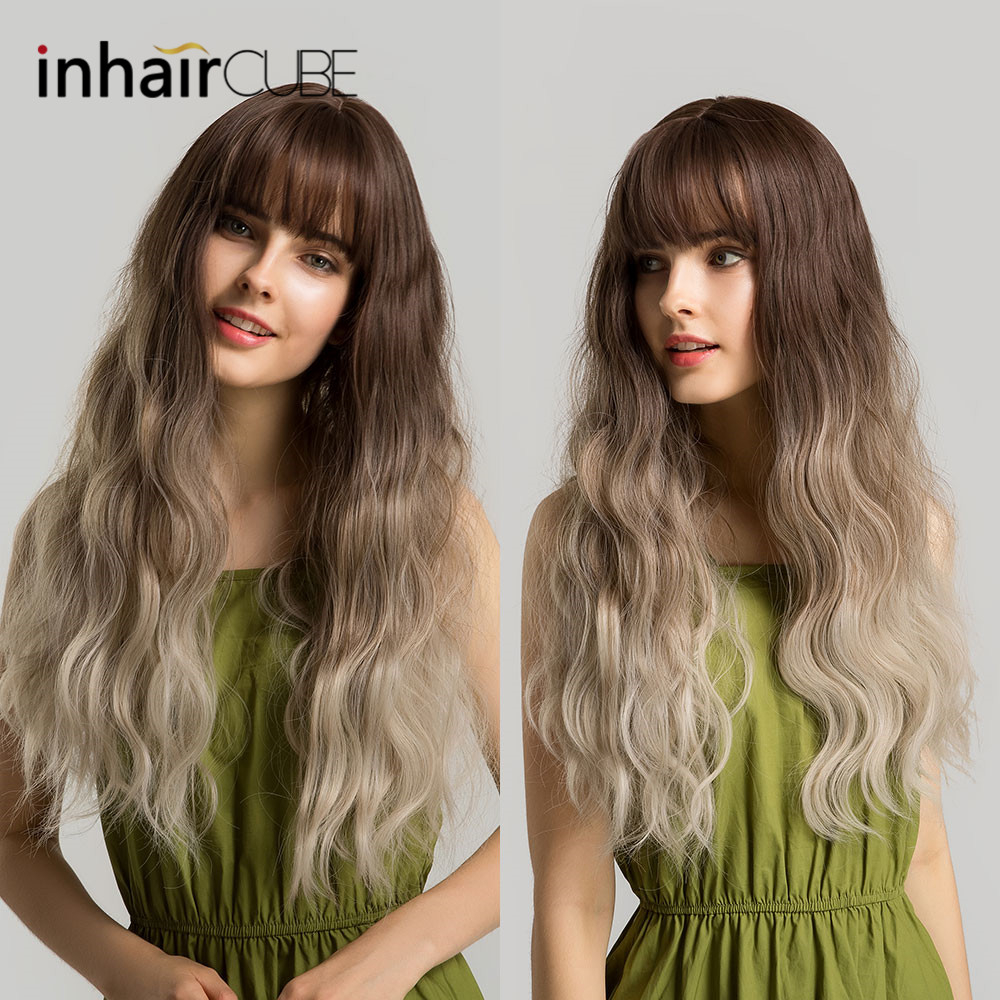 Inhaircube 24 Ombre Pastel Wig Women Wigs Synthetic Hair With Bangs Long Wavy Realistic Scalp Dark Brown Root Creamy-White