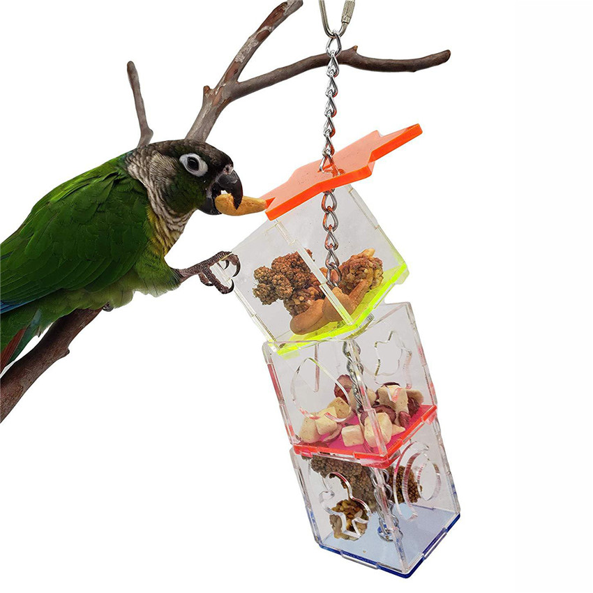 Transparent 3 Layer Parrots Food Feeder Hanging Parrot Nibbled Toys Feeder font b Pets b font