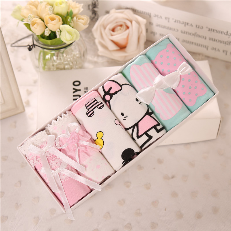 WOMEN'S Panties Gift Box Cotton Cute Bow WOMEN'S Panties Low-Rise Briefs Week Days Underwear L09