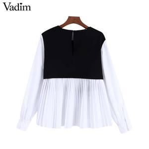 Image 3 - Vadim נשים אופנה משובצת טלאי חולצה ארוך שרוול O צוואר חולצות נקבה מקרית אופנתי חולצות blusas LB588