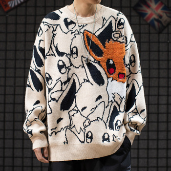 Japan Anime Eevee Sweater Cartoon Cute Men Fashion Round Collar Loose Knitwear Woolen