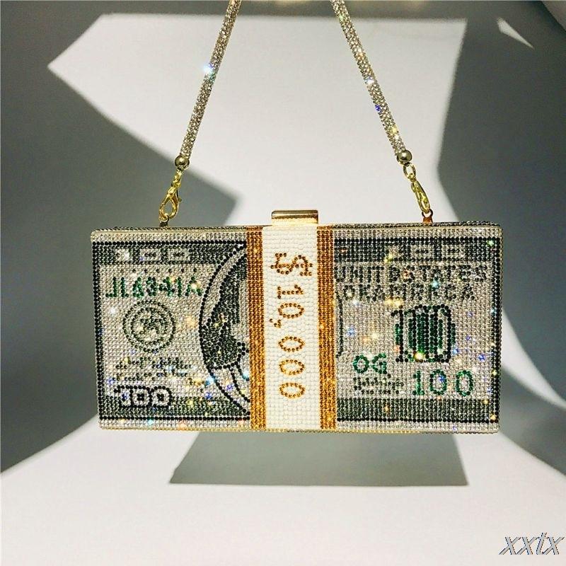 Клатч для денег, стразы, кошелек, 10000 долларов, стек наличных денег, вечерние сумки на плечо, Свадебная вечерняя сумка, 8 цветов