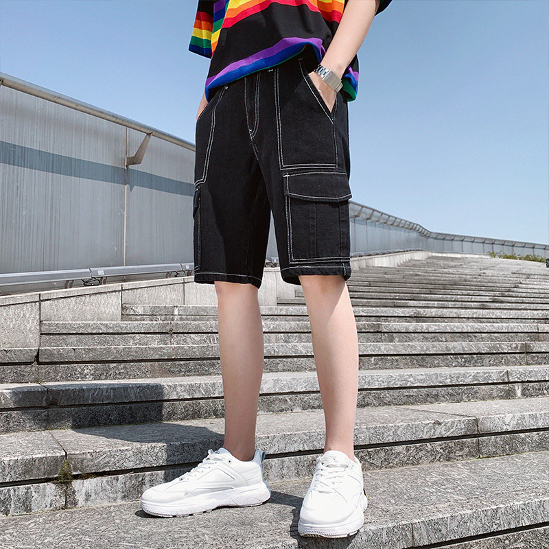 New Style 2019 Workwear Shorts Men's Spring Black And White With Pattern Korean-style Slim Fit Trend Students Denim Shorts Men's