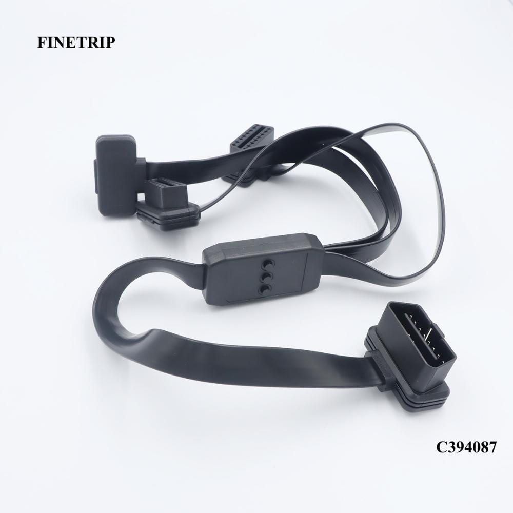 FINETRIP OBD2 16 Pin Splitter Männlich zu Weiblich obdii Verlängerung Kabel Adapter Diagnose Werkzeug Stecker mit Netzschalter