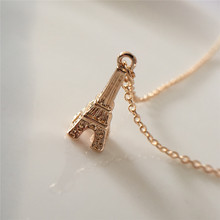 Girly Small 3D Model Eiffel Tower Pendant Delicate Collar Necklace For Girl Tiny Jewelry 3D stylish eiffel tower pendant necklace for women