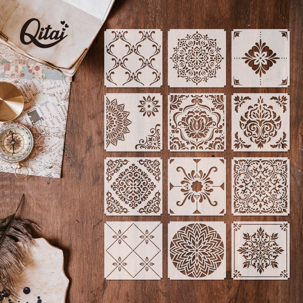 QITAI 12pcs Layering Stencils For DIY Scrapbooking/photo Album Decorative Embossing DIY Paper Cards Crafts ST02