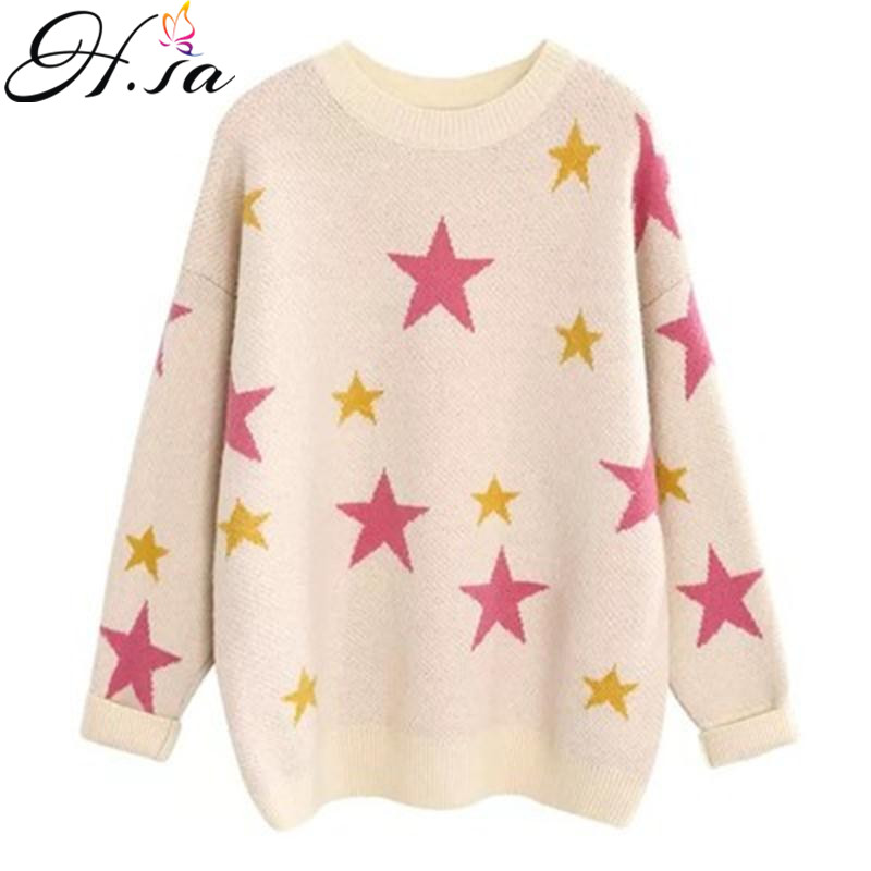 H.SA Korean Fashion Ladies Full Sleeve Casual Pullover And Sweater Colorful Stars Pull Jumpers Oversized Winter Thick Sweaters
