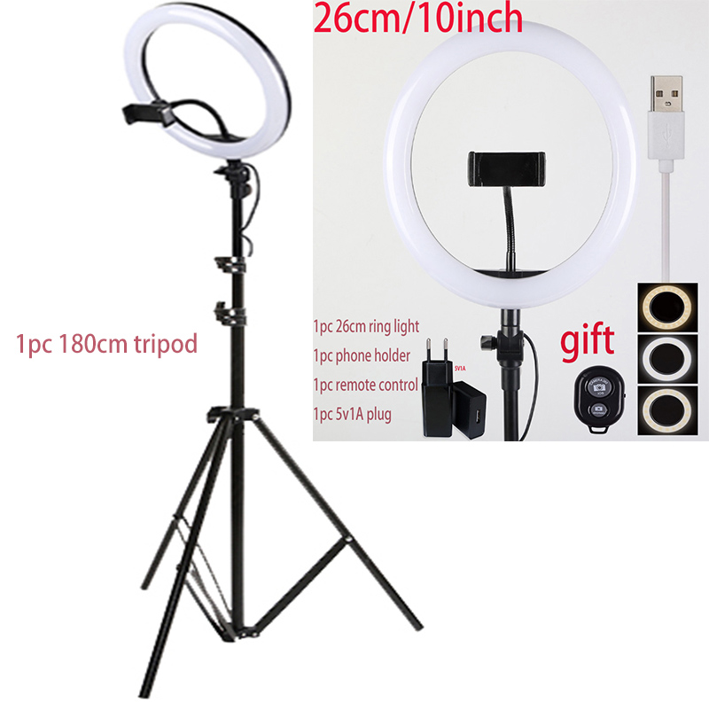 16cm26cm 30cm 45cm Selfie Ring Light with Phone Camera Holder Photography Lighting with Tripod Remote Control for Photo Video 2