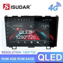 Isudar Radio Multimedia H53 con GPS para coche, Radio con Android, 1 Din, 4GB RAM, 64GB ROM, cámara DVR, para Honda/CRV/CR V, 2007 2012