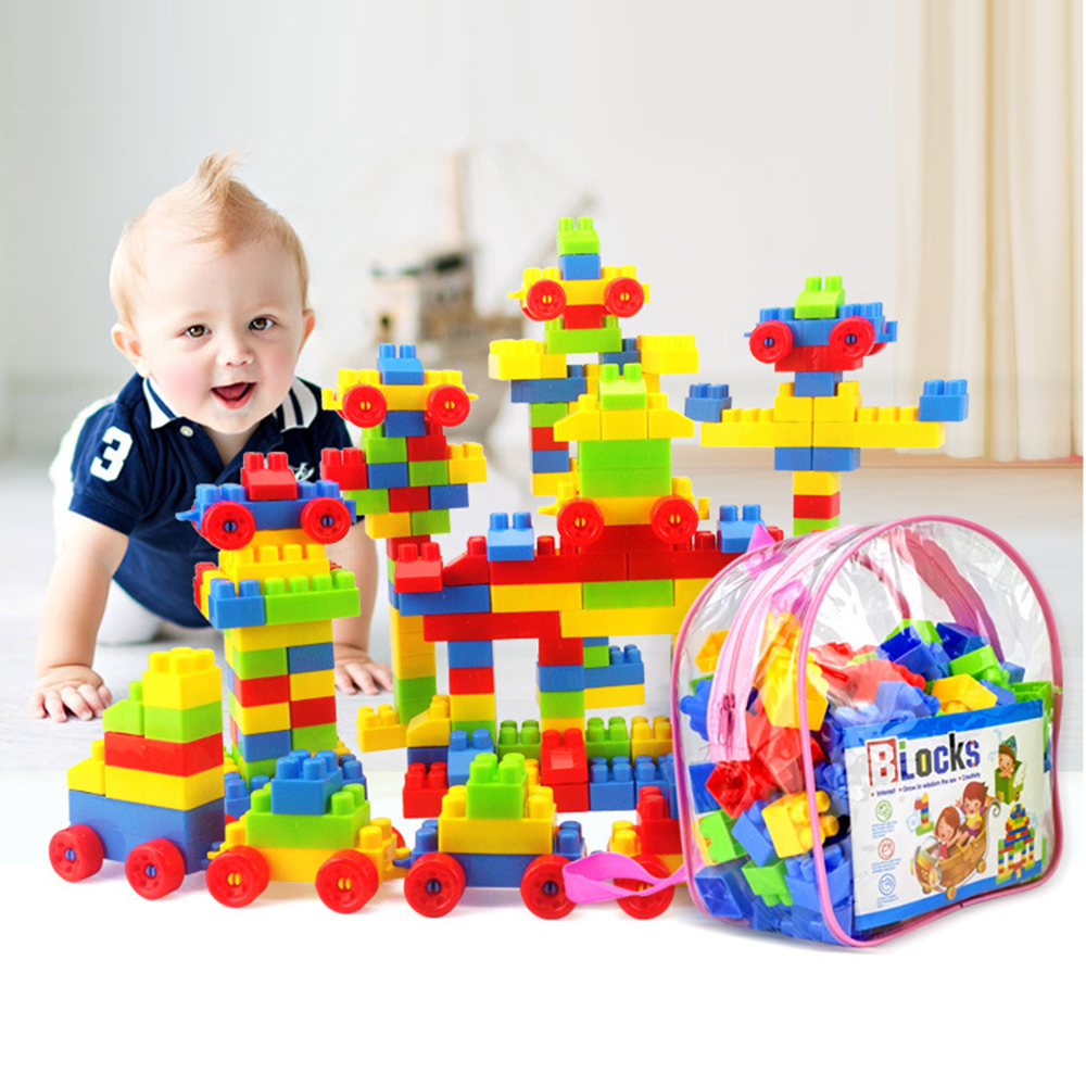 Building Blocks Toys for Children Large Particle 130Pcs/Set  Parent-child Interaction Early Education Plastic Assembled Inserted