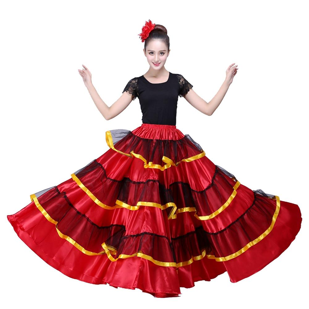 Spanish Flamenco Skirt Belly  Dance Skirt Spanish Dance Costumes Flamenco Dress Ballroom Dancing Dress Dropshipping