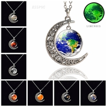 Glow in Dark Solar System Necklace Jupiter Moon Sun Earth Saturn Mercury Venus Crescent Moon Glass Cabochon Pendant Necklace fashion solar system moon earth mars planet necklace antique silver crescent moon pendant chain necklace outer space jewelry