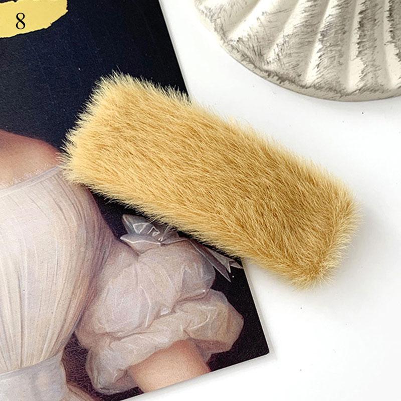 1 шт. искусственный мех капли квадратные заколки для волос шпильки с плюшевыми шариками осень зима мягкие однотонные заколки аксессуары для волос Зажимы для челки - Цвет: 8