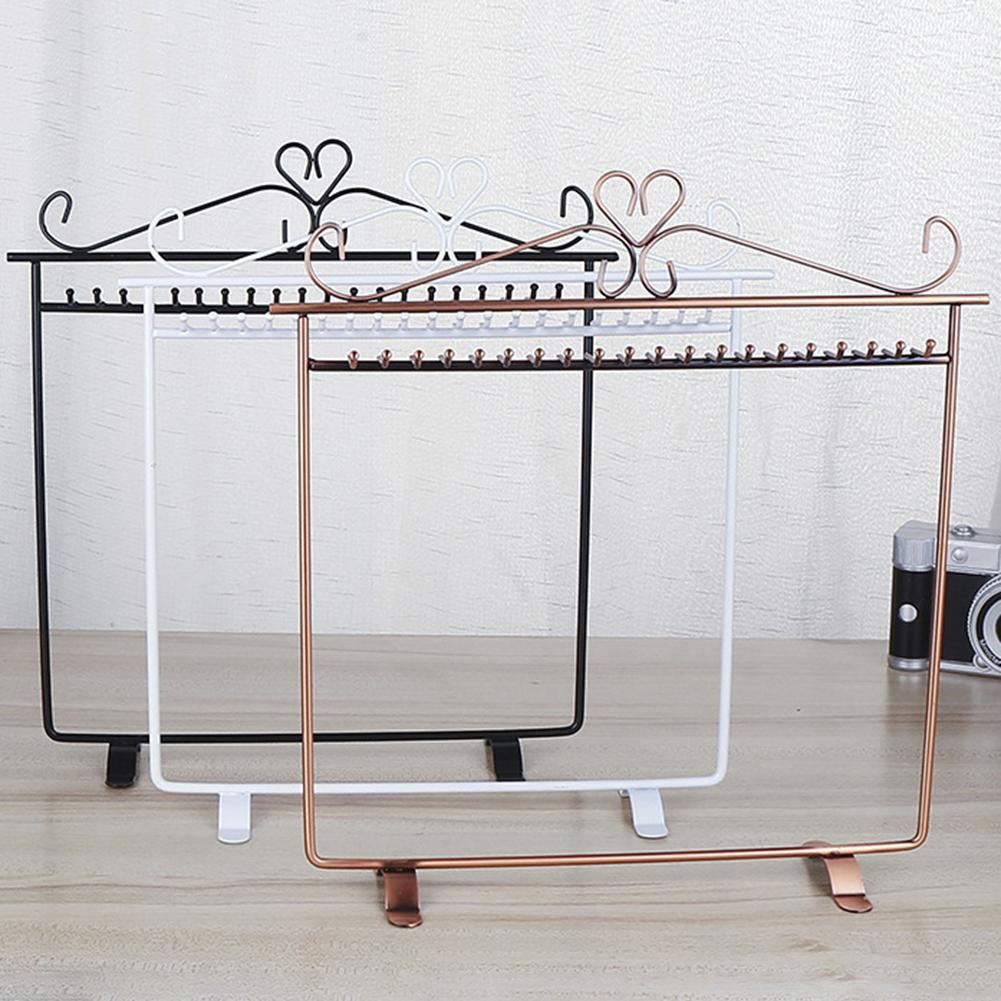 Vintage Heart Design Jewelry Hanger Necklace Earring Durable Metal Rack Display Stand Holder Lightweight Storage Organization