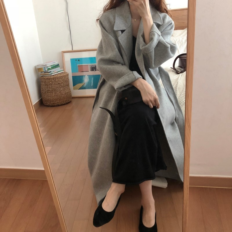 Hd672bc45d3eb43ad8fe20be3d115a41af Winter Fashion Coats Women Wool-blend Coat Lazy Oaf Long Chunky Warm Coat Western Style Fitted Waist Lace-up Loose Coat