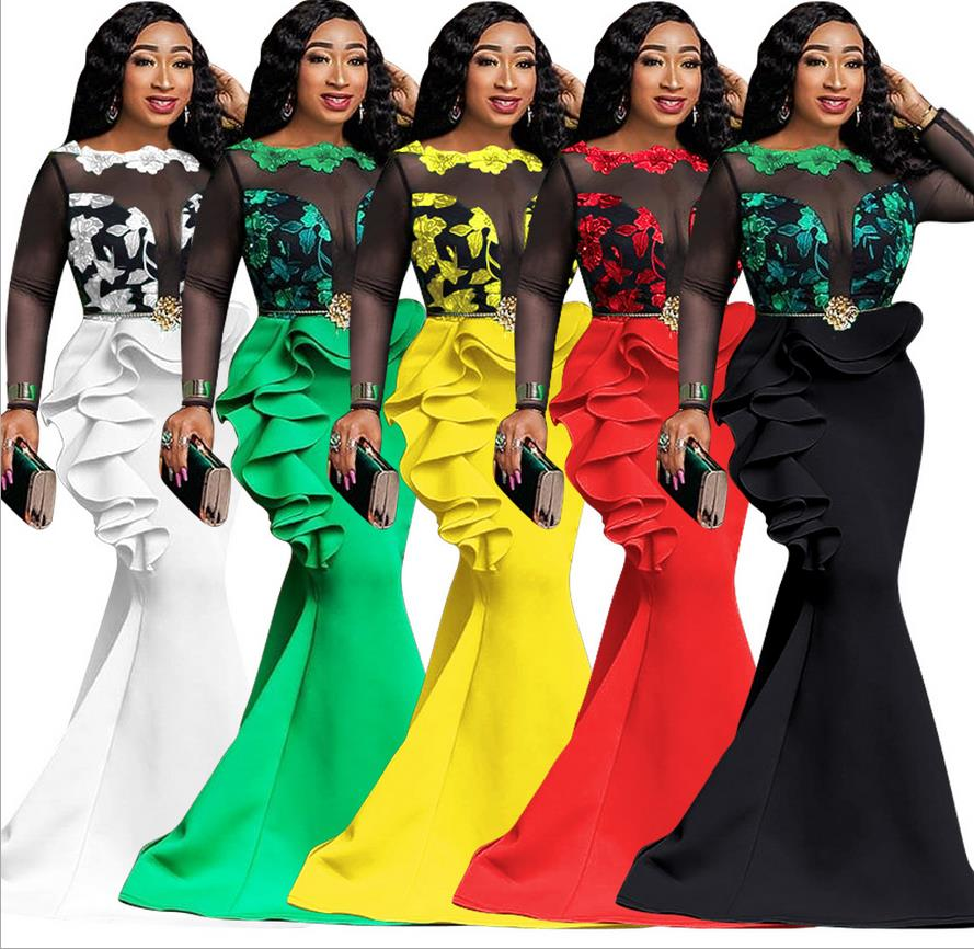 5 Colors African Dresses For Women Print Africa Dress African Clothes Fashion Evening Long Maxi Dress Robe Africaine Femme 2019
