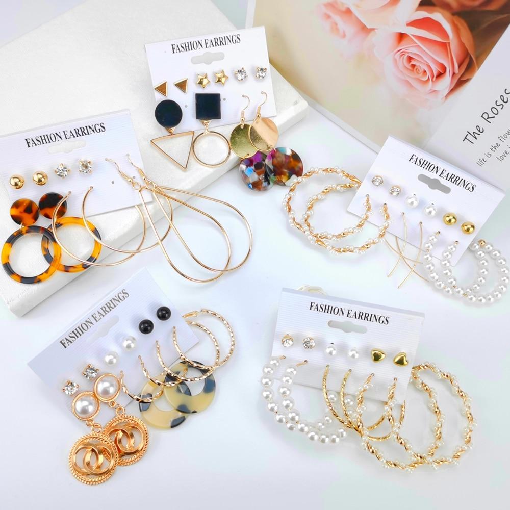 LATS – ensemble de boucles d'oreilles en perles acryliques pour femmes, nouveau, style bohème, léopard, goutte, bijoux à la mode, 2020