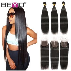 Image 1 - ישר שיער חבילות עם סגירה ברזילאי שיער Weave חבילות שיער טבעי חבילות עם סגירת Beyo ללא רמי הארכת שיער