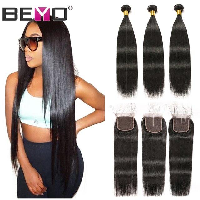 ישר שיער חבילות עם סגירה ברזילאי שיער Weave חבילות שיער טבעי חבילות עם סגירת Beyo ללא רמי הארכת שיער