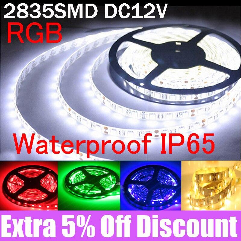 Led Strip 2835 SMD DC 12V 300Led/ 5M 4/3/2/1M waterproof flexible tape lamp tira Led fita led 5050 rgb ambilight line usb stripe(China)