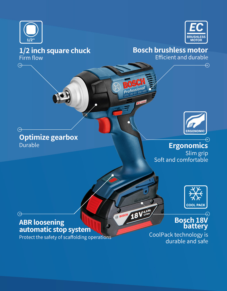Bosch Electric Impact Drill Four Pits Lithium Rechargeable Powerful Wireless Multi-function Household 18V Electric Hammer Drill