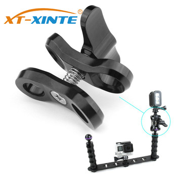 XT-XINTE Diving Light Arm Adapter Butterfly Clip 1inch Ball Head Clamp Mount for GoPro 7 6 5 SLR Camera with 2/3 Open Holes - discount item  10% OFF Camera & Photo
