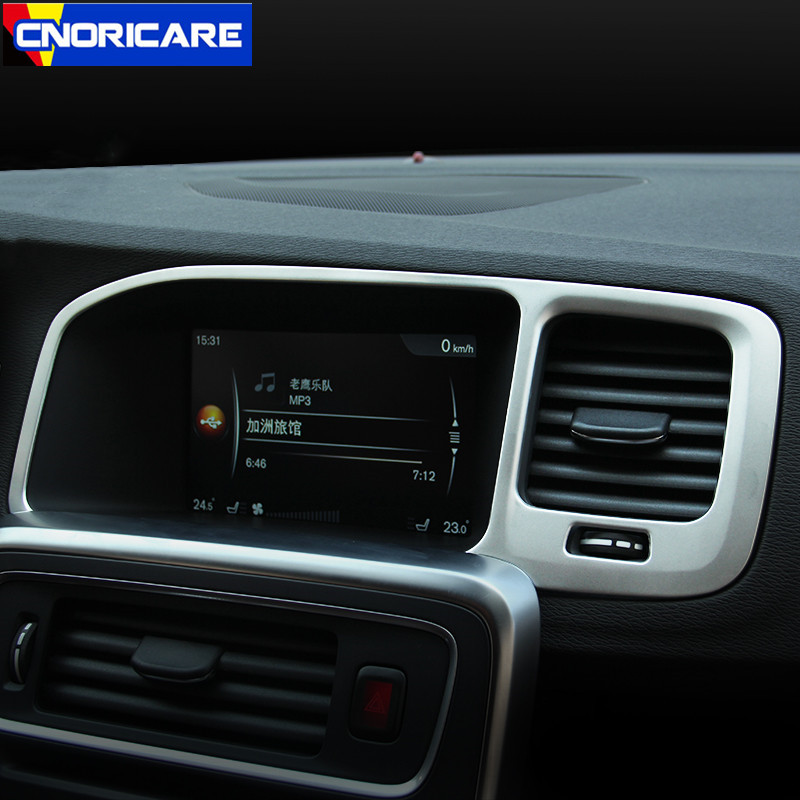 Car Styling Center Console Navigation Screen <font><b>Frame</b></font> Decoration Sticker Trim For <font><b>Volvo</b></font> <font><b>S60</b></font> V60 LHD Interior Modified Accessories image
