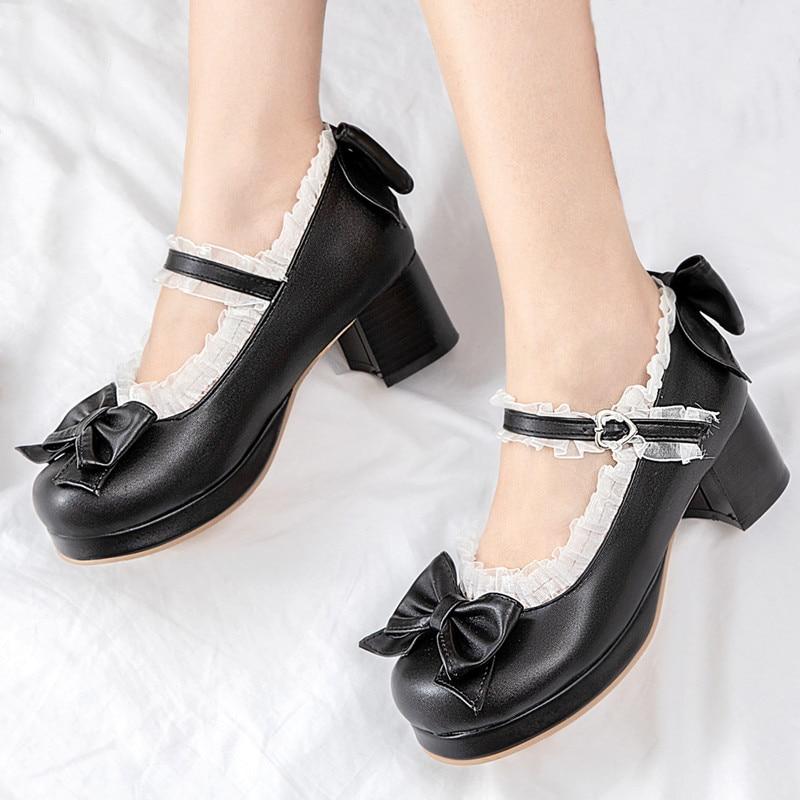 AGODOR Black Lolita Shoes Mary Jane Shoes For Women High Heels Platform Pumps Block Heels Shoes Woman Pink Big Size 42 43 44 45