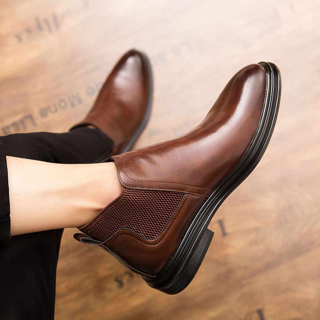 Britischen Wind Stiefeletten Turnschuhe Spitz Männer Casual Schuhe Retro Stiefel Für Männlichen Chelsea Schuhe Niedrigen Ferse