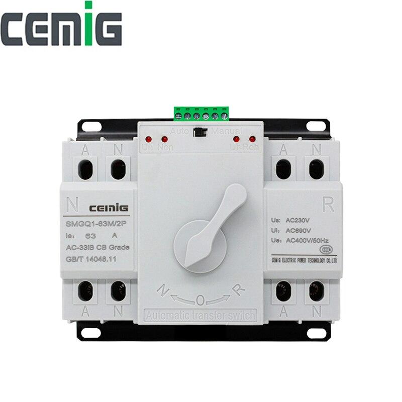 Ats 2 p interruptor de transferência automática de potência dupla cemig SMGQ1-63M/2 p interruptor de circuito mcb ac 230 v 16a 32a 40a 63a