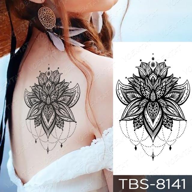 Waterproof Temporary Tattoo Sticker Chest Lace Henna Mandala Flash Tattoos Wolf Diamond Flower Body Art Arm Fake Tatoo Women Men 3