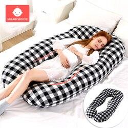 Almohada de apoyo para dormir para mujeres embarazadas cuerpo algodón conejo estampado U en forma de maternidad almohadas de embarazo