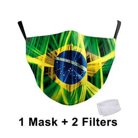 Italy Spain Country Flag Printed Cloth Mask Washable Reusable Face Masks Fabric Adult PM2.5 Mask Filter Protective Mouth Mask 1