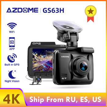 цена на AZDOME GS63H 4K Wifi Car Dash Cam Ultra HD 60fps 1080p Rearview 24H Monitor GPS Camera Dual Lens Night Vision Mirror Recorder