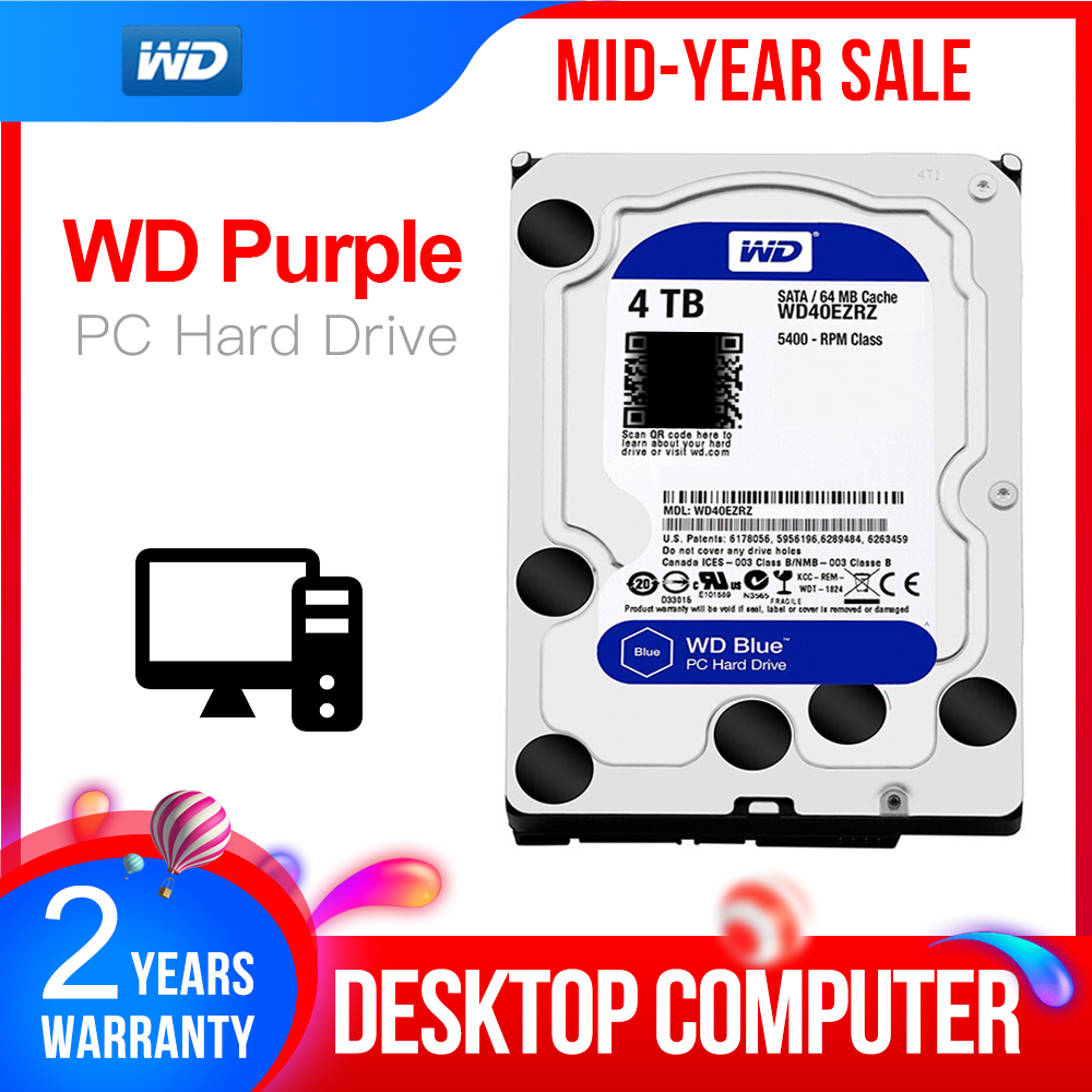 WD Original Blue <font><b>4TB</b></font> <font><b>Hdd</b></font> Sata 3.5'' Internal Hard Disk Drive <font><b>HDD</b></font> for PC WD40EZRZ Western Digital <font><b>4tb</b></font> <font><b>hdd</b></font> disco duro Desktop image