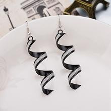 Long Drop Spiral Drop Earrings For Women Girls Gold Black Fashion Statement Earrings Pendants 2020 Women Famous Jewelry cheap TRENDY Dangle Earrings geometric pendientes alloy