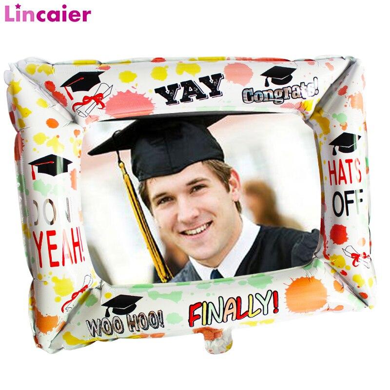 Foil Photo Frame Balloon 2020 Graduation Party Decoration Class Photo Booth Props Bachelor Cap Grad Congrate Graduated Supplies