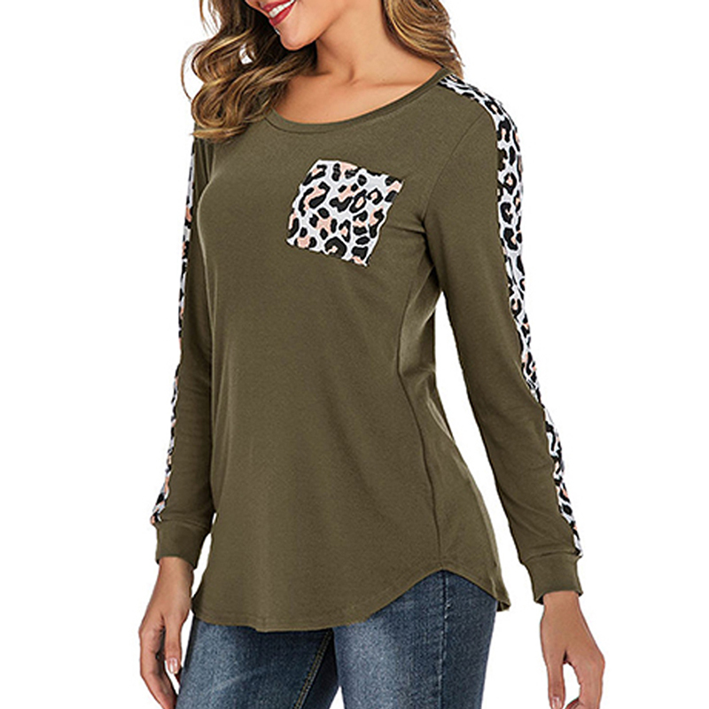 2019 Fashion Pocket Women Long Sleeve Leopard Stitching Top Tees Female Round Neck T shirt Autumn Casual Top Cotton Tshirt in T Shirts from Women 39 s Clothing