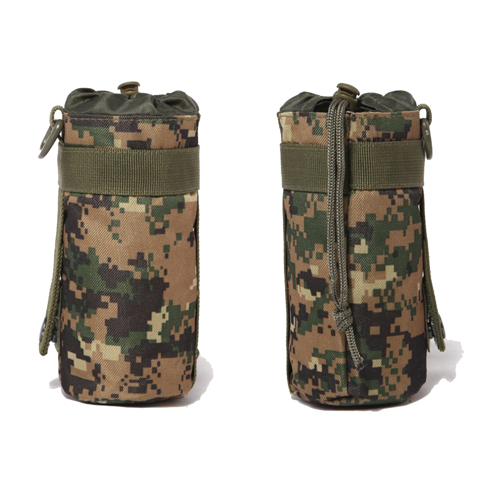Tactical Water Bottle Bag Military Molle System Kettle Pouch Holder Hunting Camping Cycling Travel Bottle Kits Drawstring Pouch