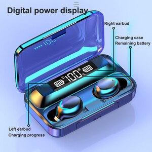 Image 5 - Беспроводные наушники F9 TWS 5,0, сенсорное управление, светодиодный дисплей, шумоподавление, игровая гарнитура с микрофоном, внешний аккумулятор, Bluetooth наушники