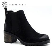 Женская обувь в стиле Челси черного цвета с подходящим каблуком;