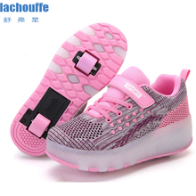 Children Glowing Sneakers for Girls Mesh Double Wheels Kids Roller Skate Luminous Shoes Women TPR Sole LED Lighting Boys