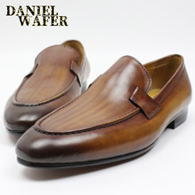 Luxury Handmade Men Leather Shoe Casual Slip On Brown Black Loafers Office Business Wedding Shoes