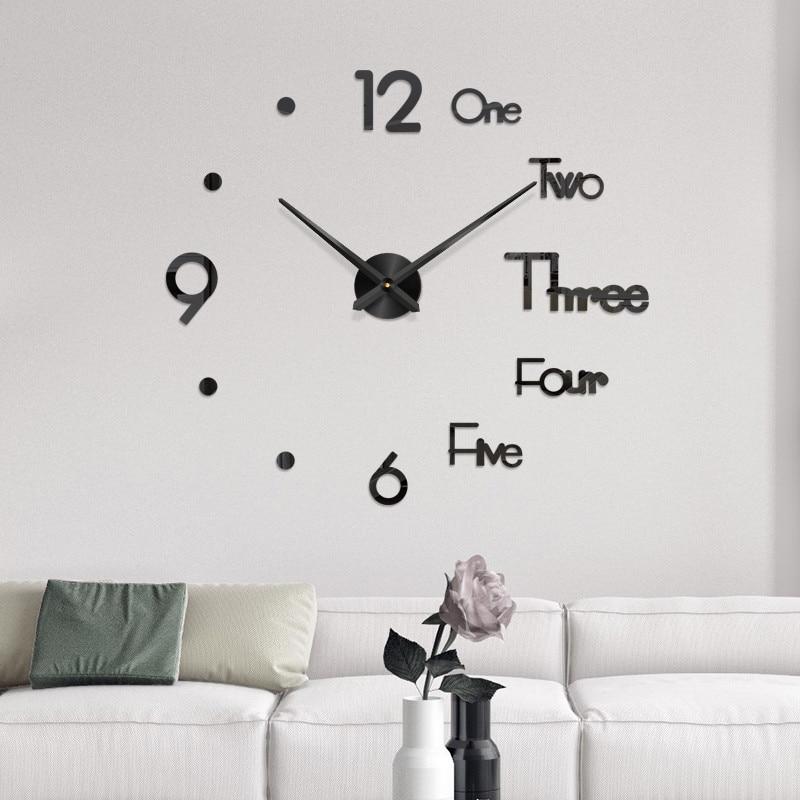 Modern Design DIY Large Wall Clock 3D Mirror Surface Sticker Home Office Decor