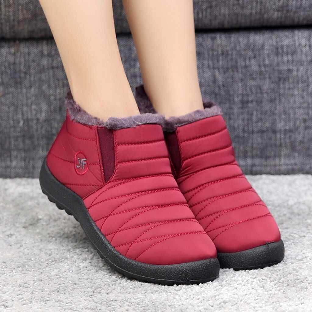 נשים פנאי בתוספת קטיפה מגפי חורף להתחמם ישן Beijing כותנה נעלי קטיפה מדרסים שלג רדוד עמיד למים שטוח נעליים