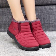Women Leisure Plus Velvet boots for winter keep Warm Old Beijing Cotton Shoes Plush Insole Snow Shallow Waterproof Flat Shoes(China)